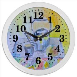 """Часы круглые из пластика """"На кухне"""" - стакан, чайник, чай, на кухне"""
