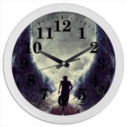 """Часы круглые из пластика """"Бегущий во времени и пространстве"""" - бегун, сквозь время и пространство"""