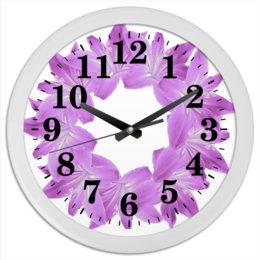 """Часы круглые из пластика """"Нежный фиолетовый"""" - цветы, часы, букет, декор, венок"""