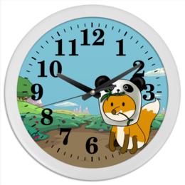 """Часы круглые из пластика """"Часы с лисенком"""" - панда, часы, лиса, лисенок"""