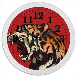 "Часы круглые из пластика ""Тигр арт"" - тигр, дикая природа, арт, звери, tiger"