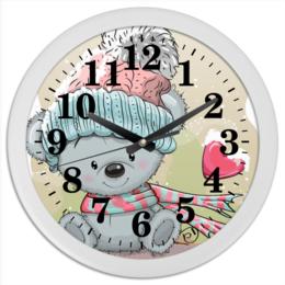 "Часы круглые из пластика ""Медвежонок"" - юмор, рисунок, зима, медвежонок, мультяшка"
