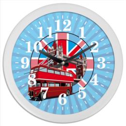 "Часы круглые из пластика ""London"" - город, лондон, флаг, британия, автобус"