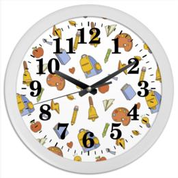 """Часы круглые из пластика """"Школьные"""" - арт, рисунок, школа, тетрадь, учебник"""