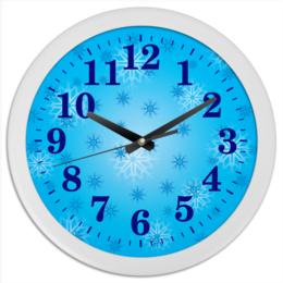 """Часы круглые из пластика """"Снежинка"""" - праздник, новый год, зима, снег, снежинка"""