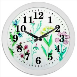 "Часы круглые из пластика ""Часы Луговые цветы"" - лето, растения, луг, цветы"