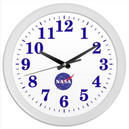 "Часы круглые из пластика ""NASA | НАСА"" - звезды, космос, nasa"