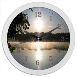 """Часы круглые из пластика """"у озера"""" - утро, лес, природа, восход, озеро"""