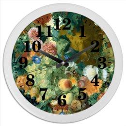 """Часы круглые из пластика """"Фрукты и цветы (Ян ван Хёйсум)"""" - цветы, картина, живопись, натюрморт, ян ван хёйсум"""
