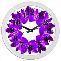"""Часы круглые из пластика """"Сочный фиолетовый"""" - цветы, часы, букет, декор, венок"""