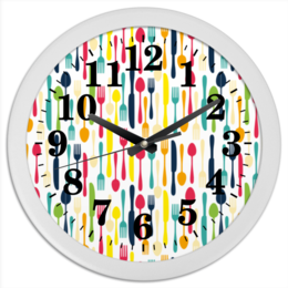 """Часы круглые из пластика """"Кухонные"""" - ложка, вилка, нож, рисунок, кухня"""