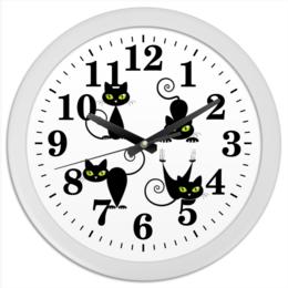 """Часы круглые из пластика """"Кошки 7"""" - рисунок, кошки, зелёные глаза, чёрная кошка"""