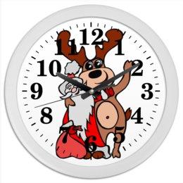 """Часы круглые из пластика """"Дед мороз с оленем"""" - праздник, новый год, радость, дед мороз, олень"""