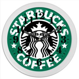 """Часы круглые из пластика """"starbucks"""" - арт, кофе, бренд, starbucks, старбакс"""