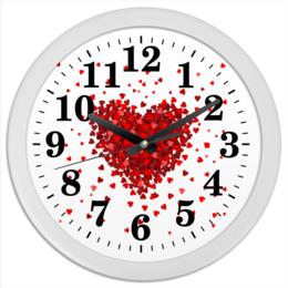 """Часы круглые из пластика """"Hearts"""" - любовь, love, 14 февраля, сердечки"""