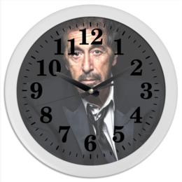 """Часы круглые из пластика """"Аль Пачино"""" - аль пачино, лицо со шрамом, путь карлито, запах женщины, пачино"""
