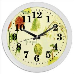 """Часы круглые из пластика """"Горы, сосны и цветы"""" - цветы, горы, сосны, ели"""