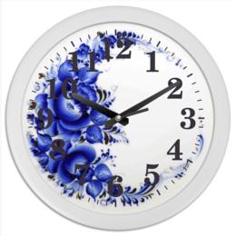 "Часы круглые из пластика ""гжель "" - дом, гжель, уют, кухня, настенные часы"