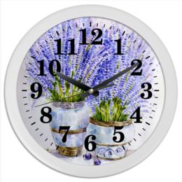 """Часы круглые из пластика """"Лаванда"""" - цветы, рисунок, лаванда"""