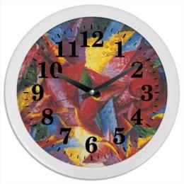 """Часы круглые из пластика """"Пластичные формы лошади (картина Умберто Боччони)"""" - картина, живопись, футуризм, кубизм, боччони"""