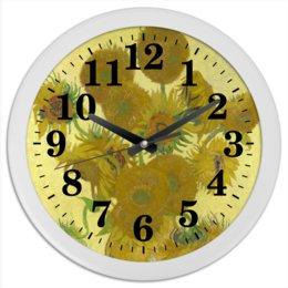 "Часы круглые из пластика ""Подсолнухи (Винсент Ван Гог)"" - картина, ван гог"