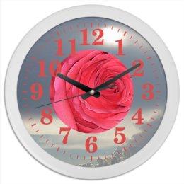 """Часы круглые из пластика """"Сердце розы."""" - цветок, роза, небо, розы, розовая роза"""