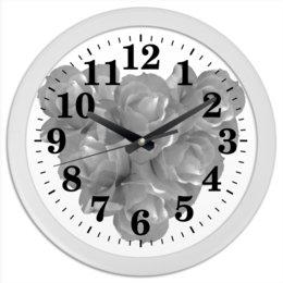 """Часы круглые из пластика """"Сердечко из роз"""" - сердце, цветы, часы, розы, букет"""