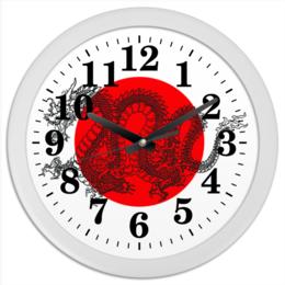 """Часы круглые из пластика """"dragon time"""" - дракон, солнце, восток, япония"""