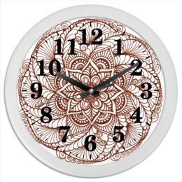"Часы круглые из пластика ""Индийский цветок "" - мандала, индия, этнический, индийский, мехенди"