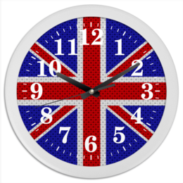 "Часы круглые из пластика ""British Design"" - англия, флаг, британия, великобритания, арт дизайн"