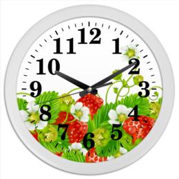 "Часы круглые из пластика ""Земляничная поляна"" - лето, цветы, ягоды, земляника"