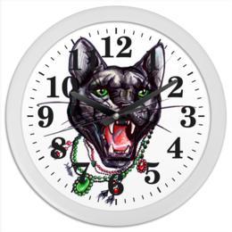 "Часы круглые из пластика ""Пантера"" - кошка, cat, пантера, бусы, panther, tm kiseleva"