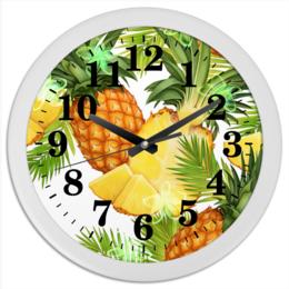 """Часы круглые из пластика """"Ананасы"""" - фрукты, рисунок, тропики, ананасы"""