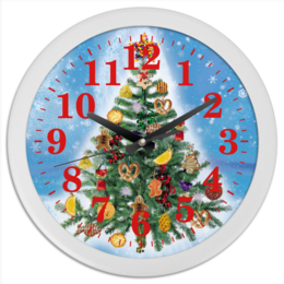 """Часы круглые из пластика """"Новогодняя елка (1)"""" - праздник, новый год, елка, новогодняя елка"""