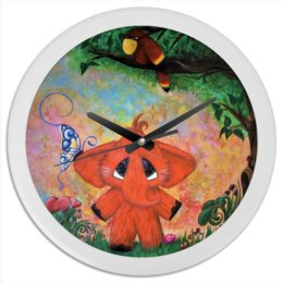 """Часы круглые из пластика """"Слоник"""" - бабочка, цветы, слон, попугай, сказка"""