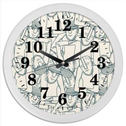 "Часы круглые из пластика """"Мегаполис"""" - арт, рисунок, город, люди, модерн"