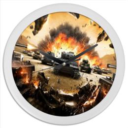 """Часы круглые из пластика """"World of Tanks"""" - игры, армия, компьютеры, world of tanks, танки"""