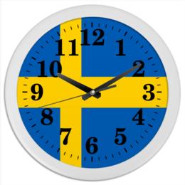 "Часы круглые из пластика ""Флаг Швеции"" - скандинавия, швеция, стокгольм"