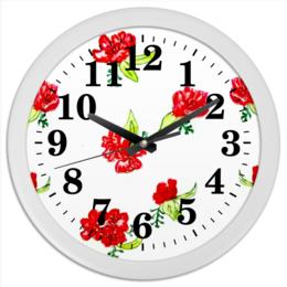 "Часы круглые из пластика ""Часы Красные цветы"" - лето, маки, красные цветы"