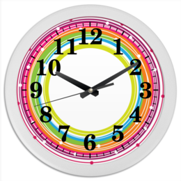 """Часы круглые из пластика """"Кольца нубелунгов"""" - кольцо, рисунок, абстракция, круги, абстрактный"""