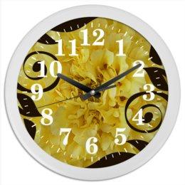 """Часы круглые из пластика """"Бархатное время."""" - цветы, узор, цветок, лепестки, яркий цветок"""