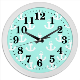"Часы круглые из пластика ""якорь"" - море, якорь"