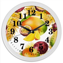 """Часы круглые из пластика """"Тропические фрукты"""" - фрукты, рисунок, тропики, папайя, маракуйя"""