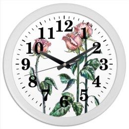 """Часы круглые из пластика """"Розы розовые"""" - растения, цветы, лето, вподарок"""