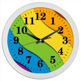 """Часы круглые из пластика """"Радуга"""" - лгбт, орнамент, стиль, узор, абстрактный"""