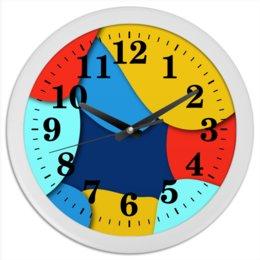 """Часы круглые из пластика """"Разноцветные"""" - узор, стиль, рисунок, орнамент, абстрактный"""