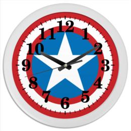 """Часы круглые из пластика """"Щит капитана(New)"""" - комиксы, кэп, капитан америка, captain america"""