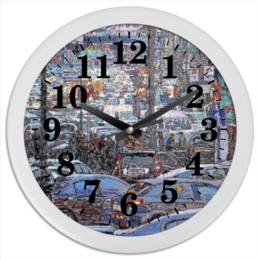"""Часы круглые из пластика """"Охотный ряд"""" - арт, москва, город, пейзаж, живопись"""