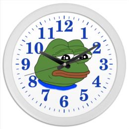 """Часы круглые из пластика """"Pepe Frog"""" - мем, грустная лягушка, sad frog, pepe frog, pepe the frog"""