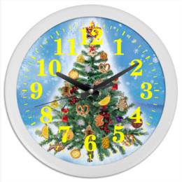 """Часы круглые из пластика """"Новогодняя елка (2)"""" - праздник, новый год, елка, новогодняя елка"""